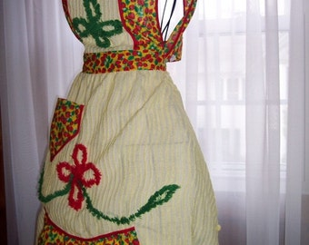 Sale  My Carrie Vintage Chenille Strawberry Apron Mother's Day Apron Ready to Ship