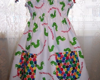 My Carrie Custom Boutique Sundress made with Hungry Caterpillar Fabric