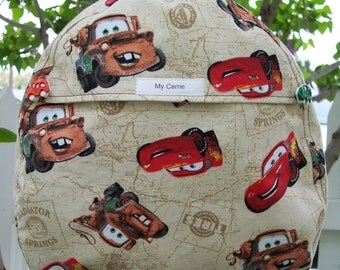 My Carrie Toddler Backpack made with Disney Carz Fabric