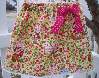 My Carrie Girl's A-Line Skirt made with Strawberry Shortcake fabric