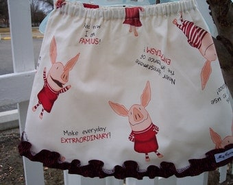 My Carrie Girl's A-Line Skirt made with Olivia the Pig fabric