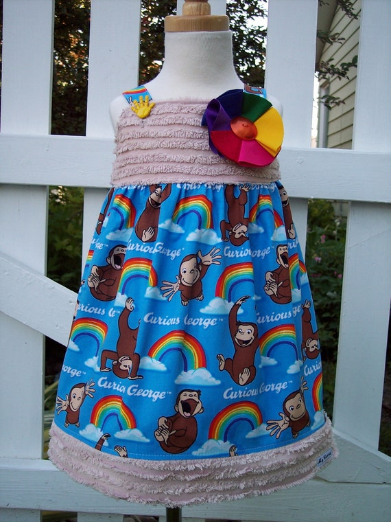 My Carrie Custom Boutique Jumper made with Vintage Chenille and Curious George Fabric