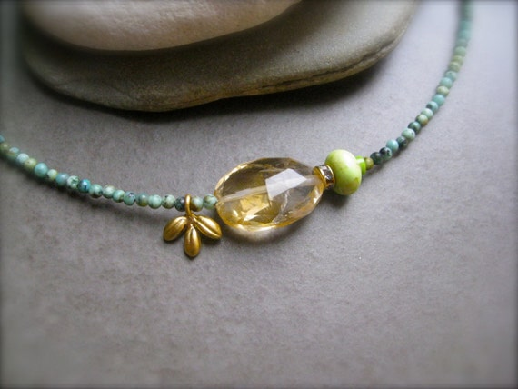 African Turquoise and Citrine Necklace - Summer Petite Jewelry
