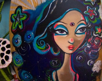 dreamy girl painting. original art on wood by elfmadchen.