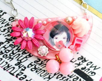 sugar puff fairy necklace. kawaii pink deco sweets pendant by elfmadchen.