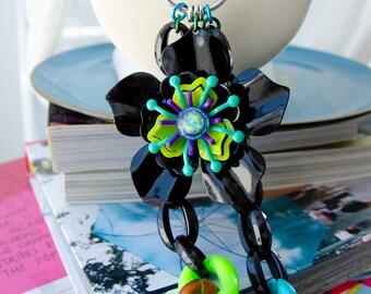 owl mod fairy necklace - retro enamel flowers black bright green and blue