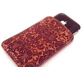 Engraved Leather iPhone Case. Damask Pattern, Hand Made .