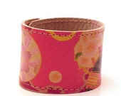 Leather Cuff - Japanese Washi Pattern. COMPLIMENTARY SHIPPING.