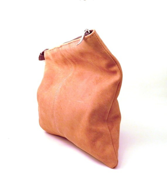 Foldover Leather Clutch. Urban Cowgirl - Western Style. Tan Suede Clutch Purse. COMPLIMENTARY SHIPPING.