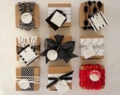 REINDEER COLLECTION : Small Round and Square White Holiday Gift Tags (quantity 9 - 1 of each)