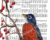 ROBIN Art Prints /There Is Always Happiness /Religious Spiritual Song 5 x 7 bird collection  F R E E  Shipping