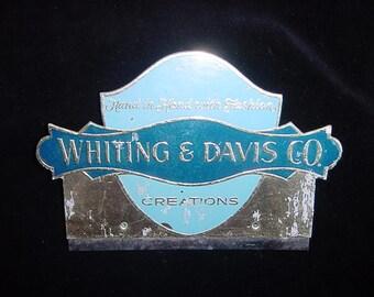Vintage Whiting Davis Foil Display Shop Sign