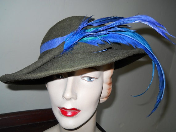 Clearance Vintage 1970s Adolfo Olive Slouch Fedora Hat Blue Feathers