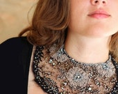 Chantilly---delicate elegant bold bib necklace from antique silk and hand embroidery