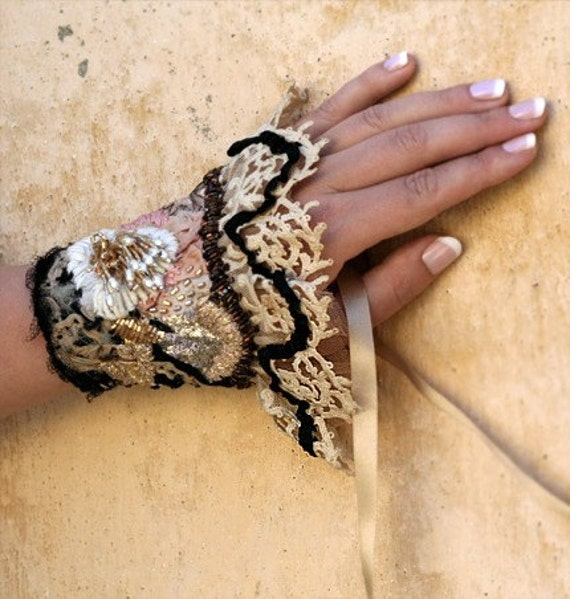Tiramisu - o.o.a.k. freehand embroidered cuff from vintage textiles and antique lace.