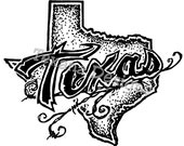 Texas MOUNTED Rubber Stamp