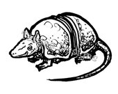 Armadillo (small) cling mounted rubber stamp