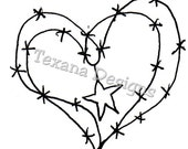 Jamn Heart and Star cling mounted rubber stamp