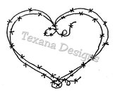 Jam'n Barbed Wire Heart (mini) cling mounted rubber stamp