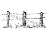 Jam'n Barbed Wire Fence cling mounted rubber stamp
