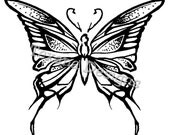 Butterfly (Large) cling mounted rubber stamp