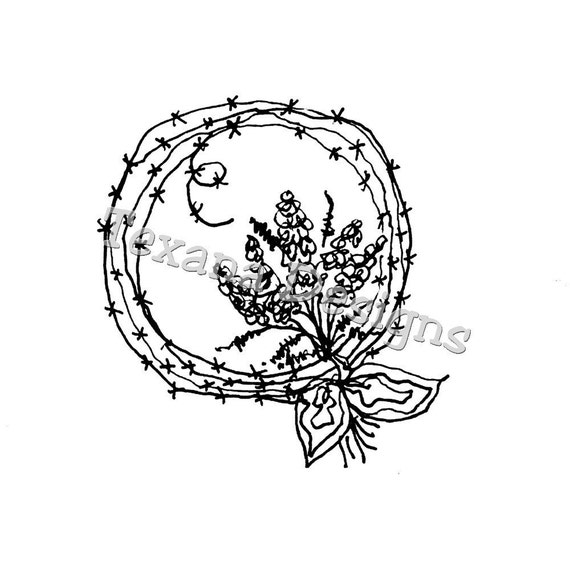 Jam'n Bluebonnet Wreath cling mounted rubber stamp