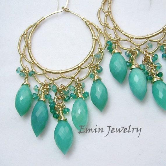 Sale - Himawari Earrings - Green Chrysoprase 14k Gold Filled Intricate Hoop Earrings
