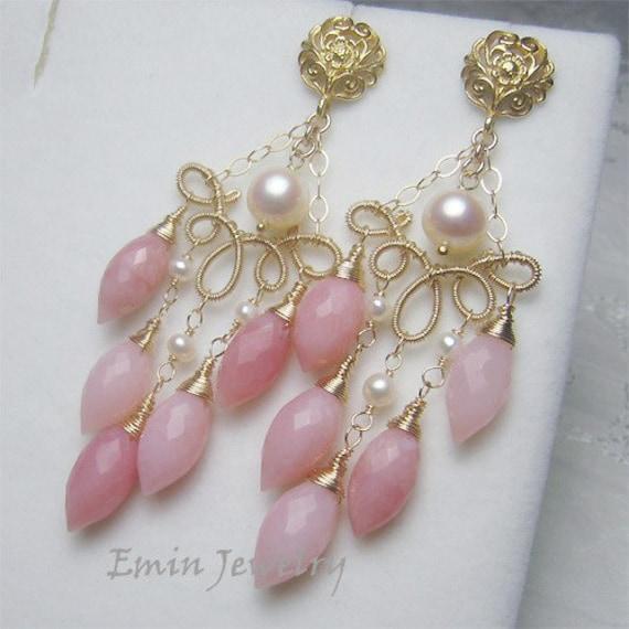 Pink Opal White Akoya Pearls Vermeil Gold Filled Earrings