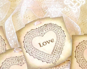 Celtic Love Victorian Lace Heart Tags: Set of 5