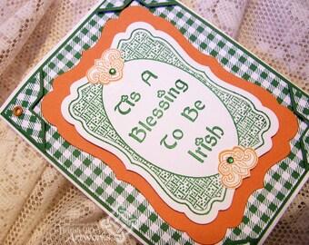 St. Patrick's Day card, Irish greeting, Shamrocks, Tis a Blessing to be Irish, Celtic Knot, Green, Orange, Plaid, Gingham pattern
