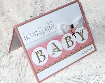 Baptism Card, Christening card, Baby Girl, Flourished letters for daugther, Accented with cross charm, white taffeta ribbon & rhinestone