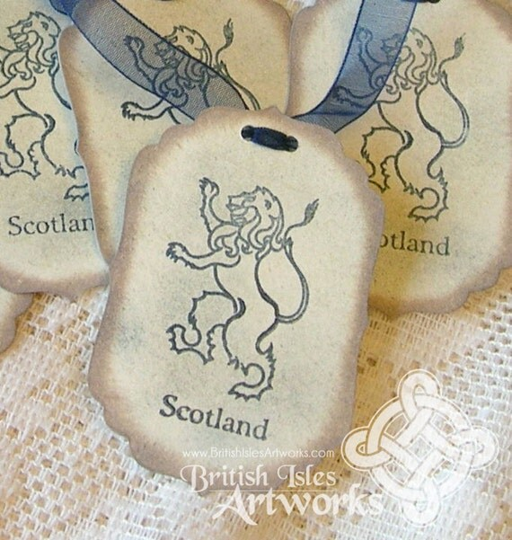 Scottish Imperial Rampant Lion Vintage Tags: Set of 5