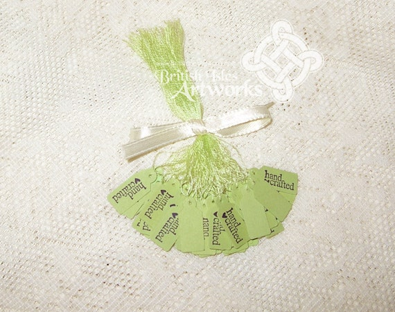 "Price Tags Handcrafted, 50 in Celery Green Chartreuse ""Hand Crafted"" with Heart, Customize thread color, Celery Green (Chartreuse) or White"