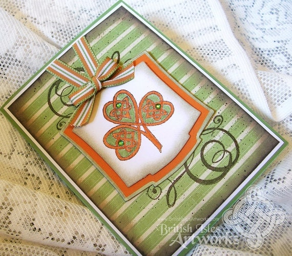 St. Patrick's Day card, Shamrock with Celtic Knotwork, Green and Orange, Shabby Chic, Rustic, Flourishes, Grunge, Celebrate Ireland
