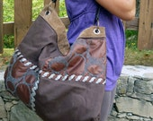 Shop Brown fabric bag, with leather straps, For everyday