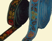 5 Yard of Two different type of ribbon jacquard woven with a cheerful pattern of  flowers