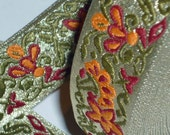 2 Yard of Gold embroidered Ribbon, Very Thick