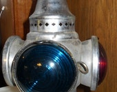Special purchase for junkman Adlake Lamp With Red and Blue Glass Great for the Beach House