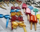 Gobs of adorable Cake Topper Food Picks Party Supplies Sandals Popsicles Bow Ties Balloons Sunglasses Ice Cream Cones