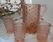 Childs Miniature Pink Hobnail Pitcher and Cups