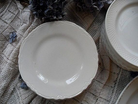 White Ironstone Plate Scalloped Edge French White Pair