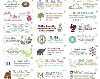 120 Return Address Labels (4 sheets with 30 on each page), monogram labels, new home labels, mountain labels, nest labels, holiday labels