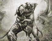 Dance with Me rare DOG ART Staffordshire Bull Terrier by C Ellicott
