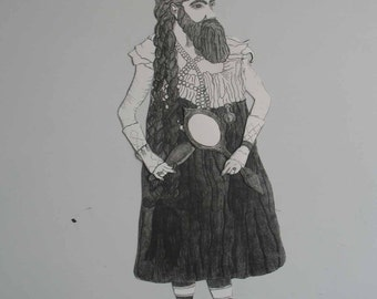The Bearded Lady, A Magnetic Paper Doll