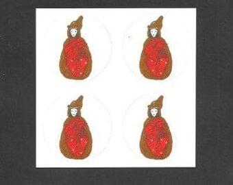 Snow White Stickers, Set of Four