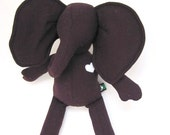 Small Elephant doll eco friendly upcycled wool soft Dark purple Eggplant handmade heirloom Christmas present bubynoa Best Friend