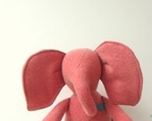 Small Elephant doll upcycled, eco friendly Peach vintage  Wool soft  personalized bubynoa Best Friend