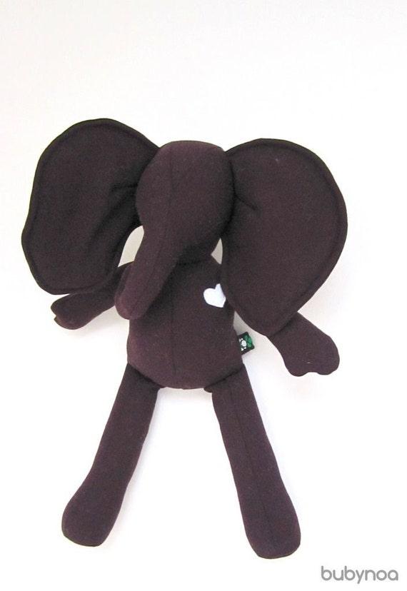 Small Elephant doll eco friendly upcycled wool soft Dark purple Eggplant handmade heirloom Christmas present bubynoa Best Friend