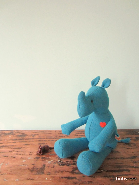 Big Rhino doll eco friendly upcycled vintage wool soft heirloom turquoise bubynoa Best Friend