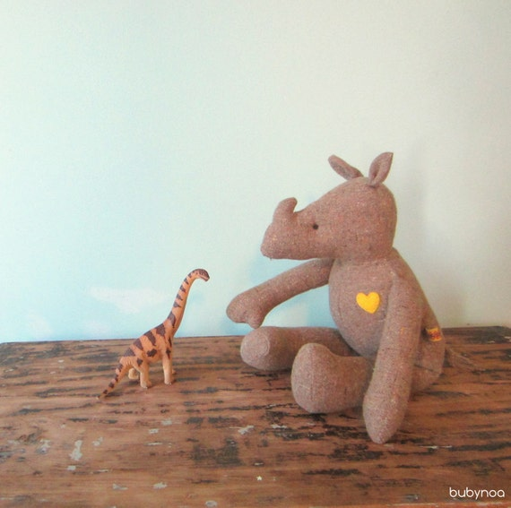 RESERVED     SALE Rhinoceros doll eco friendly upcycled vintage cotton blend soft OOAK Heirloom bubynoa Best Friend